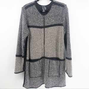 Nic+Zoe Color Block Black Knit Full Zip Up Jacket